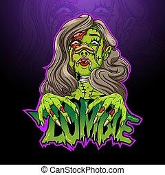 rysunek, samica, straszliwy, zombie, głowa