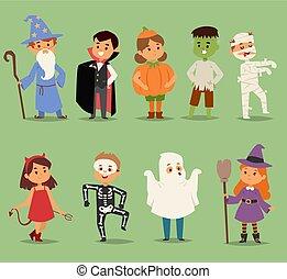rysunek, sprytny, dzieciaki, chodząc, halloween, kostiumy,...