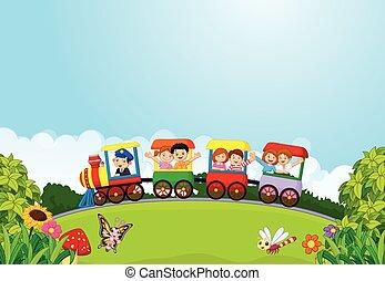 rysunek, szczęśliwy, dzieciaki, na, niejaki, barwny, tr