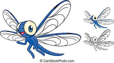 rysunek, szczegółowy, dragonfly
