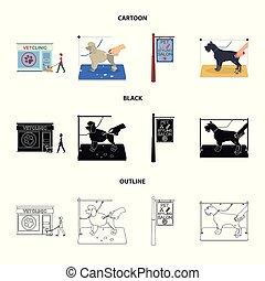 rysunek, szkic, szykowny, dogs., odwiedzając, styl, symbol, szyld, komplet, pieszczoch, wektor, troska, pień, salon, web., ikony, klinika, weteran, czarnoskóry, fryzura, ilustracja, zbiór, klinika, pies