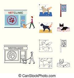 rysunek, szkic, szykowny, dogs., odwiedzając, styl, symbol, szyld, komplet, pieszczoch, wektor, troska, pień, salon, web., ikony, klinika, weteran, fryzura, ilustracja, zbiór, klinika, pies