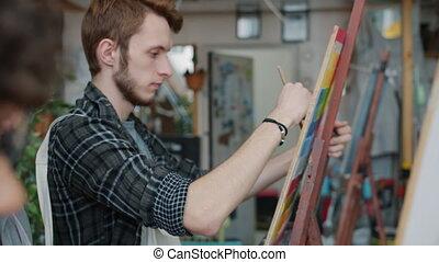rysunek, szkoła, samiec, lekcja, para, nauczyciel, podczas, ...