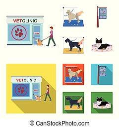 rysunek, szykowny, dogs., odwiedzając, styl, symbol, szyld, komplet, pieszczoch, wektor, troska, płaski, pień, salon, web., ikony, klinika, weteran, fryzura, ilustracja, zbiór, klinika, pies