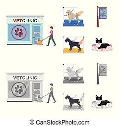 rysunek, szykowny, dogs., odwiedzając, styl, symbol, szyld, komplet, pieszczoch, wektor, troska, pień, salon, web., monochromia, ikony, klinika, weteran, fryzura, ilustracja, zbiór, klinika, pies