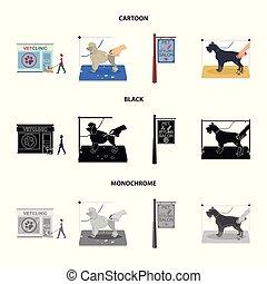 rysunek, szykowny, dogs., odwiedzając, styl, symbol, szyld, komplet, pieszczoch, wektor, troska, pień, salon, web., monochromia, ikony, klinika, weteran, czarnoskóry, fryzura, ilustracja, zbiór, klinika, pies