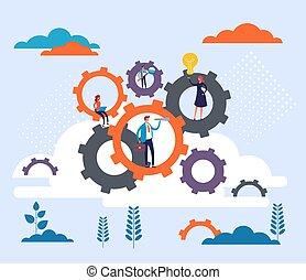rysunek, teamwork, koło, graficzny, handlowa ilustracja, projektować, concept., wektor, ludzie, płaski