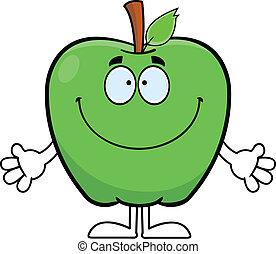 rysunek, uśmiechanie się, jabłko