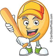 rysunek, uśmiechanie się, zabawny, kartofel, maskotka, baseball