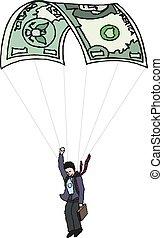 rysunek, używając, nuta, biznesmen, handlowy, bank,...