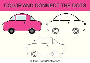 rysunek, wóz., kolorowanie, page., połączyć, przedimek określony przed rzeczownikami, dots., dzieciaki, game., wektor, illustration.