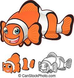 rysunek, wspólny, clownfish