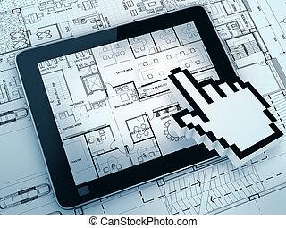 rysunek, z, tabliczka, komputer
