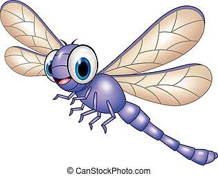 rysunek, zabawny, dragonfly, odizolowany