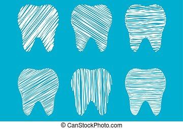 rysunek, zbiór, ręka, stylizowany, zęby, troska