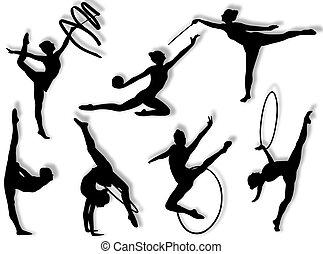 rythmique, exercices, gymnastique