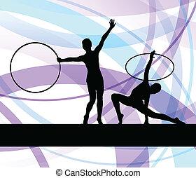 rythmique, femme, gymnastique, cerceau, vecteur, fond, anneau