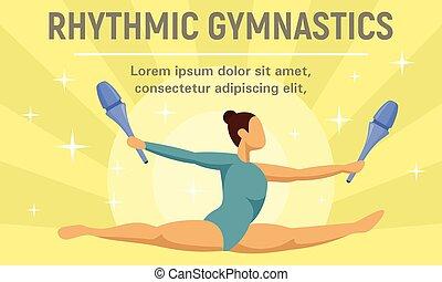 rythmique, plat, style, concept, bannière, saut, gymnastique