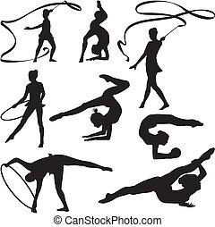 rythmique, silhouette, gymnastique, -