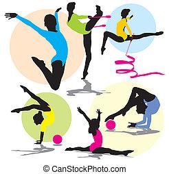 rythmique, silhouettes, ensemble, gymnastique