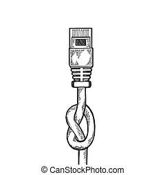 rytina, skica, ethernet, metafora, illustration., kabel,...