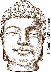 rytownictwo, kamień, głowa, ilustracja, budda, rysunek