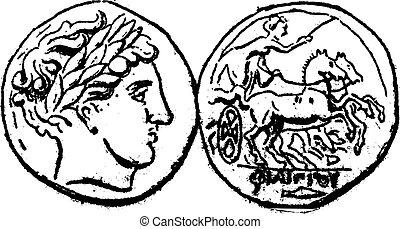 rytownictwo, starożytny, złoty, rocznik wina, macedonka,...