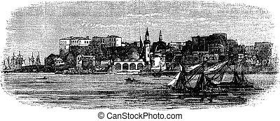 rytownictwo, stary, rocznik wina, chania, port, grecja, kreta, 1890s