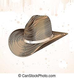 rytownictwo, styl, kapelusz, kowboj