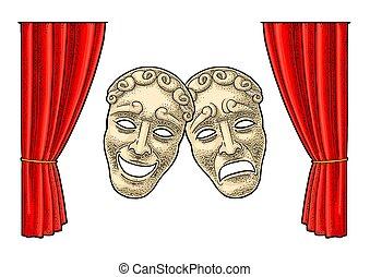 rytownictwo, theater kolorują, masks., ilustracja, wektor, rocznik wina, komedia, tragedia