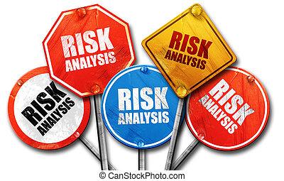ryzyko, analiza, 3d, przedstawienie, szorstki, ulica znaczą, zbiór