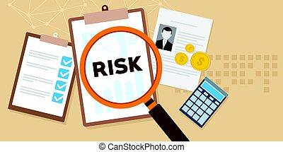 ryzyko, analiza, z, szkło powiększające, i, dokumenty, ilustracja