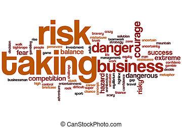 ryzyko biorące, słowo, chmura