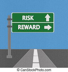 ryzyko, i, nagroda, szosa znaczą, pojęcie, z, oczko, styl, na, budowla, tło