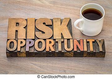 ryzyko, i, sposobność, słowo, abstrakcyjny