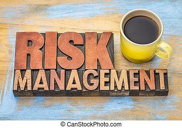 ryzyko, kierownictwo, chorągiew, w, drewno, typ