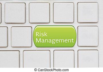 ryzyko, kierownictwo, guzik, na, komputerowa klawiatura