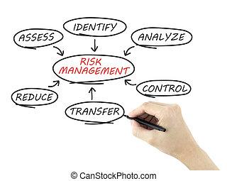 ryzyko, kierownictwo, schemat przepływu, pociągnięty, przez, ręka człowieka