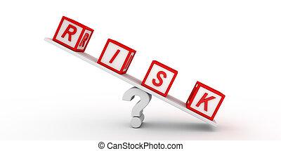 ryzyko, kostki, balansowy, na, question., 3d, rendering.