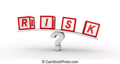 ryzyko, kostki, balansowy, na, question.