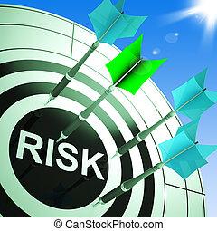 ryzyko, na, dartboard, pokaz, niebezpieczny