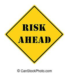 ryzyko, na przodzie, znak