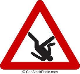 ryzyko, od, spadanie, ostrzeżenie znaczą