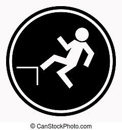 ryzyko, od, spadanie, z, wysokość, od, ludzki, niebezpieczeństwo znaczą, czarne koło, odizolowany