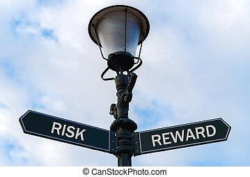 ryzyko, przeciw, nagroda, directional oznakowanie, na, guidepost