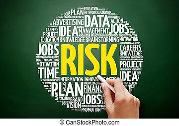 ryzyko, słowo, chmura, collage