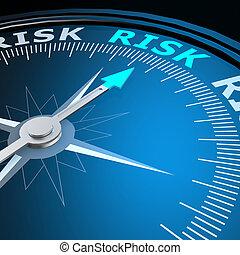 ryzyko, słowo, na, campass