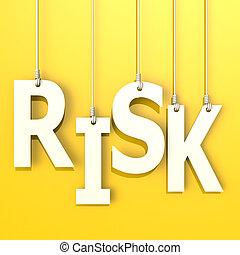 ryzyko, słowo, w, pomarańczowe tło
