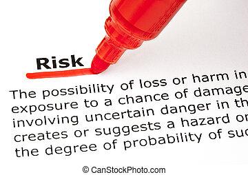 ryzyko, underlined, z, czerwony, markier