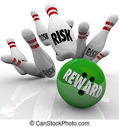 ryzyko, vs, nagroda, bowling piłka, strajkuje, szpilki, dobry, wyniki